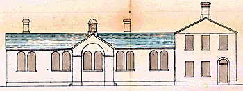 The Wesleyan School front elevation in 1855 [AD3865/45]